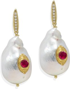 The Eye Pearl & Ruby Earrings