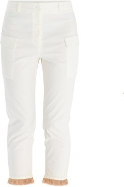 Trousers With Patch Pocket & Fringe Hem In White & Tan