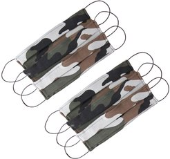 Pack Of 6 Protective Reusable Face Masks With Filter Pocket In Camouflage Print