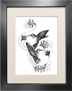 Hummingbirds & Honeysuckle Fine Art Print A3