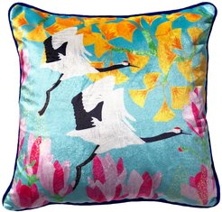 Red Crowned Cranes, Gingko & Magnolia Velvet Cushion