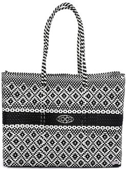 Black White Travel Tote Bag With Clutch