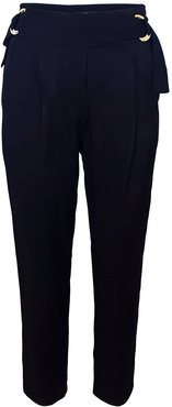 Tapered Viscose Pants With Decorative Belts - Black