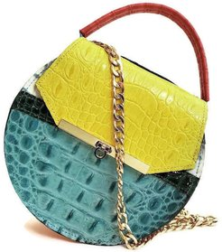 Loel Mini Crossbody Bag In Crocodile Embossed Color Pop Leather
