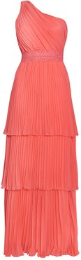 Coral Tiered One Shoulder Pleated Maxi Dress
