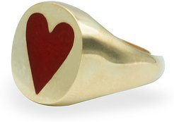 Love Cocktail Ring Vermeil Enamelled Red Heart