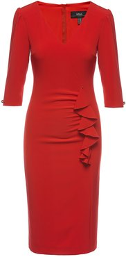 Red Front Ruffle Detail Midi Bodycon Dress