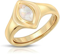 Marquise Signet Ring- Mother Of Pearl