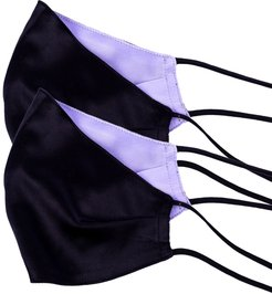 Pack Of 2 Two-Sided Black & Purple Silk Face Mask