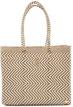 Gold Chevron Travel Tote Bag With Clutch
