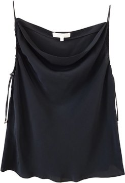 Black Silk Tank With Elastic Bungee Cord Straps