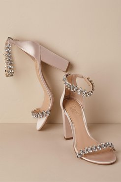 Badgley Mischka Jewel By Mayra Block Heels In Neutral - Size: 10 - at BHLDN