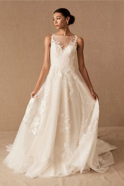 Marceline Gown In Ivory/almond - Size: 4