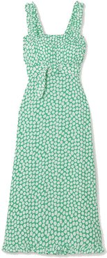 Saint Tropez belted ruffled floral-print crepe midi dress