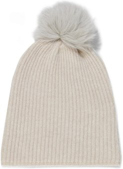 Pompom-embellished shearling and cashmere beanie