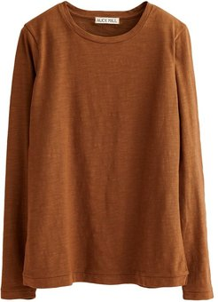 Slub Long Sleeve Solid Tee in Russet Brown