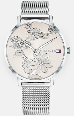 Silver Floral Watch Wi Mesh Band Stainless Steel Mesh -