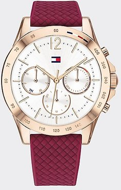 Rose Gold Sport Watch Wi Red Silicone Strap Raspberry/Gold -