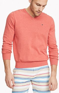 Essential V-Neck Sweater Spiced Coral Heather - XXL