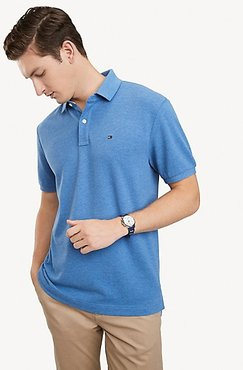 Classic Fit Essential Solid Polo Blue Heather - L