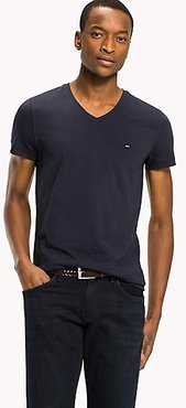 Stretch Slim Fit V-Neck T-Shirt Navy Blazer - XS