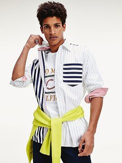 Slim Fit Contrast Stripe Shirt Carbon Navy / White/Red - L