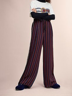 Hilfiger Collection Pajama Tie Waist Pant Cabernet Stripe - 10