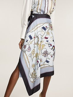 Nautical Print Wrap Skirt Foulard Print - 2