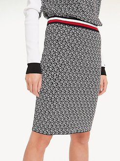 Monogram Pencil Skirt Black Cube - L