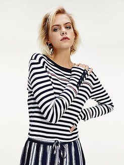 Icon Ribbed Stripe Sweater White/Navy Stripe - M