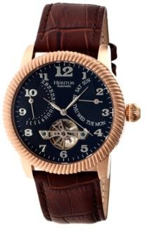 Automatic Piccard Rose Gold & Black Leather Watches 44mm