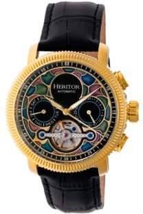 Automatic Aura Gold & Black Leather Watches 44mm
