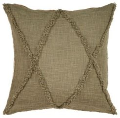 Criss Cross Olive Throw Pillow