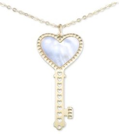 """Mother-of-Pearl Heart Key 18"""" Pendant Necklace in 10k Gold"""