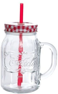 Country Classic 4 Piece Mason Jar with Lid and Straw