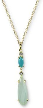 """Multi-Stone Pendant Necklace in Gold-Plated Sterling Silver, 16"""" + 2"""" extender"""