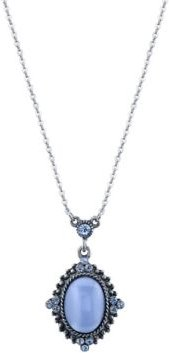 "2028 Pewter Tone Lt. Blue Moonstone Pendant Necklace 16"" Adjustable"