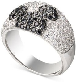 Cubic Zirconia & Black Spinel Mickey Statement Ring in Sterling Silver
