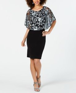 Plus Size Embroidered-Cape Dress