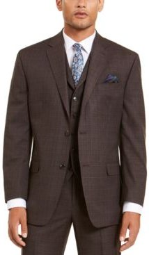 Classic-Fit Stretch Brown Neat Suit Separate Jacket