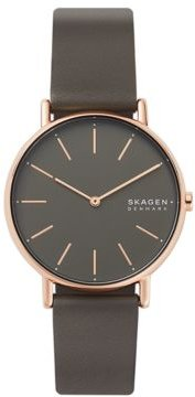 Signatur Charcoal Leather Strap Watch 38mm
