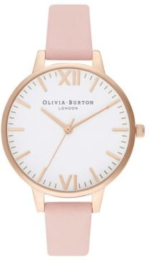 Dusty Pink Leather Strap Watch 34mm