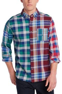 Blue Sail Classic-Fit Colorblocked Plaid Flannel Shirt, Created For Macy's
