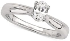 Gia Certified Diamond Oval Solitaire Ring (1/2 ct. t.w.) in 14k White Gold
