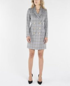 Double Breasted Plaid Coat Dress