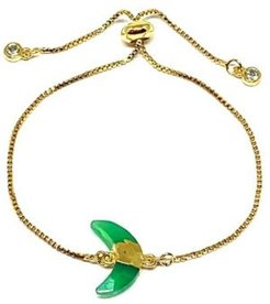 Gold Plated Pull Chain Bracelet with Chalcedony Electroform Stone