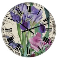 """Vintage-Inspired Flowers Iii Oversized Cottage Wall Clock - 36"""" x 28"""" x 1"""""""