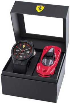 RedRev Black Silicone Strap Watch 44mm Gift Set