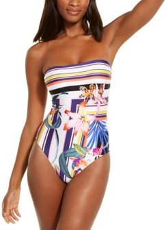 Strapless Floral Print One-Piece Swimsuit Women's Swimsuit
