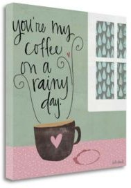 """Rainy Day Coffee by Katie Doucette Giclee Print on Gallery Wrap Canvas, 30"""" x 30"""""""